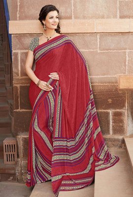 Hypnotex Art Silk Maroon Saree Paris 9627