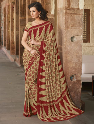 Hypnotex Art Silk Cream+Maroon Saree Paris 9629