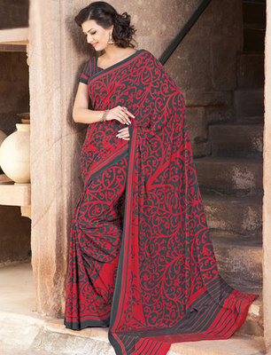 Hypnotex Art Silk Maroon Saree Paris 9634