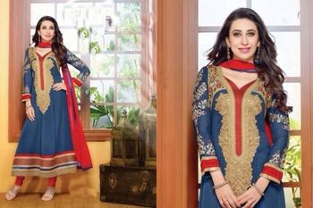 Blue Georgette Designer Embroidered Dress