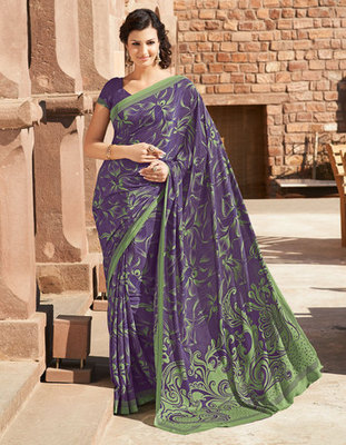 Hypnotex Art Silk Purple Saree Paris 9636