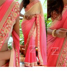 Buy peach embroidered georgette saree With Blouse bridal-saree online