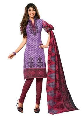 Hypnotex Cotton Purple Dress Materials  Disha 1003