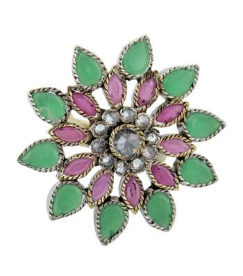 Purple & Green Floral Blossom Ring