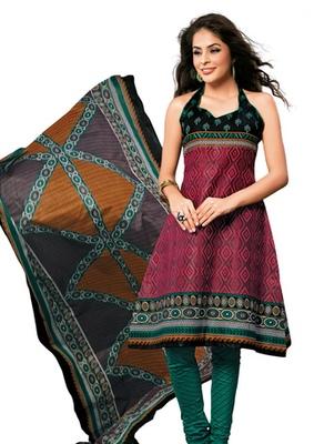Hypnotex Cotton Maroon Dress Materials  Disha 1016