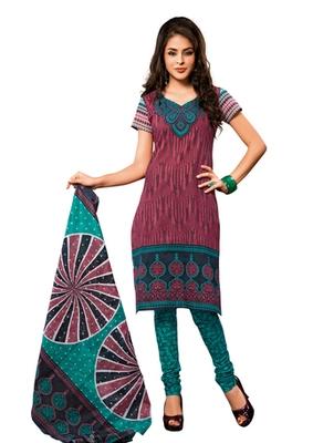 Hypnotex Cotton Maroon Dress Materials  Disha 1022
