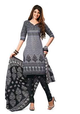 Hypnotex Cotton Grey Dress Materials  Disha 1025