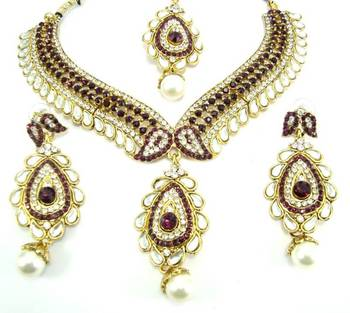 Bollywood style purple kundan cz gold tone designer necklace earring set o7