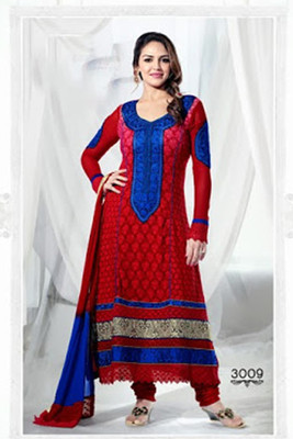 RED AND BLUE ESHA DEOL LONG PAKISTANI STYLE SALWAR SUITS