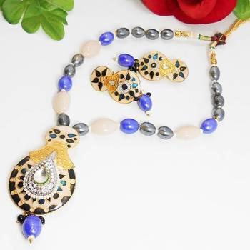 Meenakari Bell Pendant Necklace Peachy Violet 3