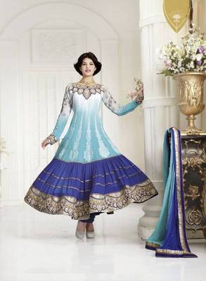 Jacqueline fernandez Gleaming Sky Blue Embroidery Salwar  Kameez