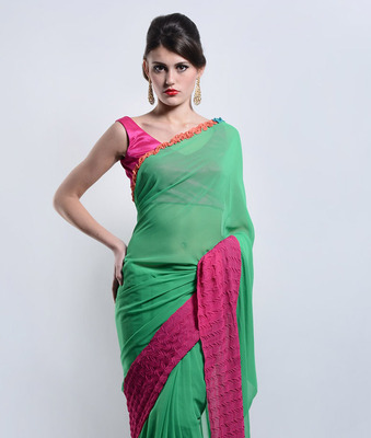 Pure Neon Green Georgette saree - Designed By Niket and Jainee
