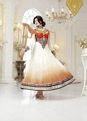 Jacqueline fernandez Marvelous White Embroidery Salwar Kameez
