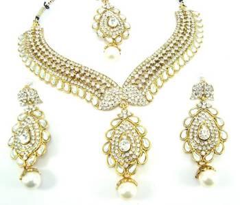 Bollywood style white kundan cz gold tone designer necklace earring set o8