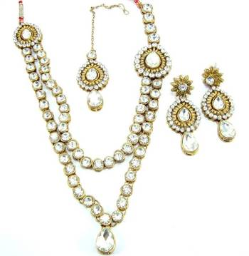 Clear white kundan cz gold tone two layer necklace earring set o10