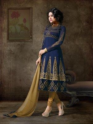 Hypnotex Georgette Blue Semi Stitch dress Purvi 1111