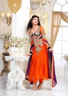 Jacqueline fernandez Alluring Orange Embroidery Salwar Kameez