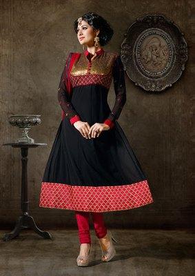 Hypnotex Georgette Black Semi Stitch dress Purvi 1144