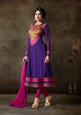 Hypnotex Georgette Purple Semi Stitch dress Purvi 1166