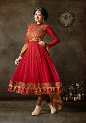 Hypnotex Georgette Maroon Semi Stitch dress Purvi 1199