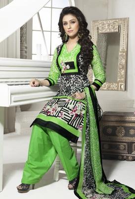 Hypnotex Cotton Green+Black Dress Materials  Bazzar 7344B