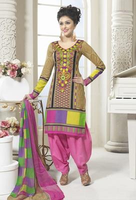 Hypnotex Cotton Chikoo Dress Materials  Bazzar 7345A