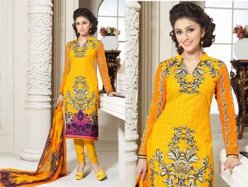 Hypnotex Cotton Yellow Dress Materials  Bazzar 7351B