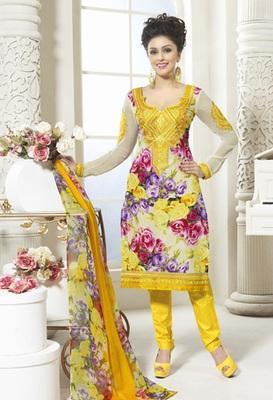 Hypnotex Cotton Cream Dress Materials  Bazzar 7352B