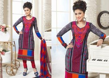 Hypnotex Cotton Grey Dress Materials  Bazzar 7353B