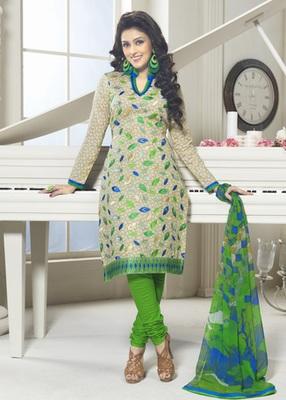 Hypnotex Cotton Cream Dress Materials  Bazzar 7354B