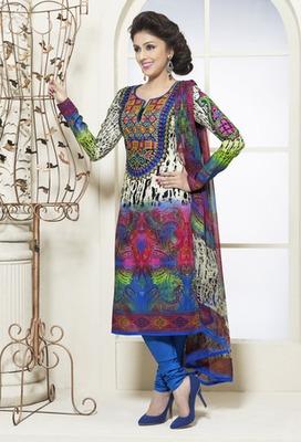 Hypnotex Cotton Blue Dress Materials  Bazzar 7355A