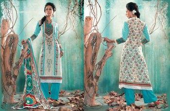 Hypnotex Cotton Green+Blue Dress Materials  Italy 7605