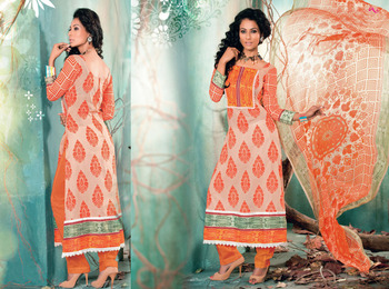 Hypnotex Cotton Orange+Chikoo Dress Materials  Italy 7606