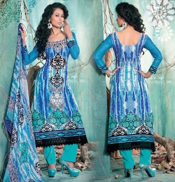 Hypnotex Cotton Blue Dress Materials  Italy 7609
