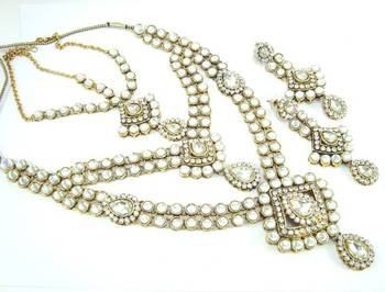 Indian bridal clear white kundan cz gold tone long necklace earring set o14