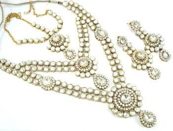 Indian bridal clear white kundan cz gold tone long necklace earring set o15