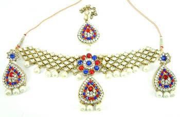 Choker style royal blue red kundan cz pearl necklace earring set o16