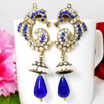 Victorian Reverse Peacock Drop Earring Royal Blues
