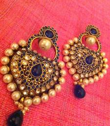 Buy Royal blue antique really ethnic pearl polki Mughal Rajputana earring  j40b hoop online