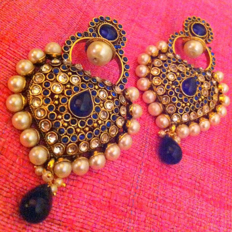 Royal Blue Antique Really Ethnic Pearl Polki Mughal Rajna Earring Pseaz003wh J40b