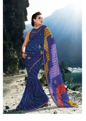 Blue Georgette Saree Sari SC899A