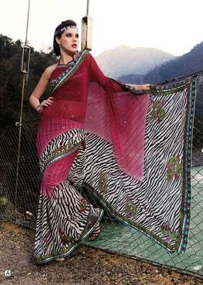 Maroon Multi Georgette Saree SC906A