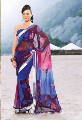 Blue Pink Georgette Saree SC907