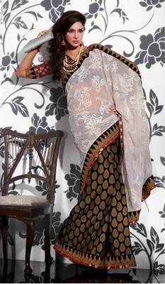 Black Beige Georgette Saree SCA3601
