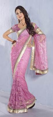 Pink Embroidered Net saree SC30009C