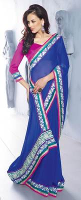 Blue Embroidered chiffon saree SC30014A
