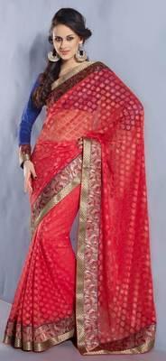 Pink Embroidered Net Brasso saree SC30015C