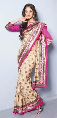 Cream saree SC30023B
