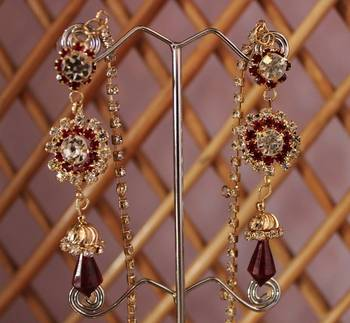 Maroon and Gold Stone Studded Danglers