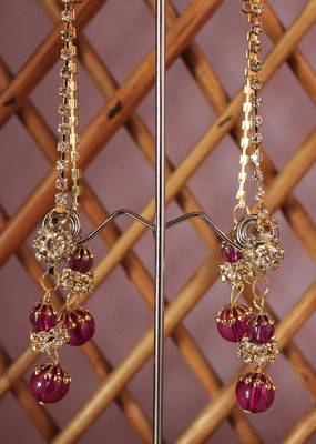 Pink and Golden Stone Studded Danglers